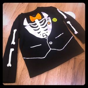 Halloween Skeleton Bowtie Baby Tux Shirt
